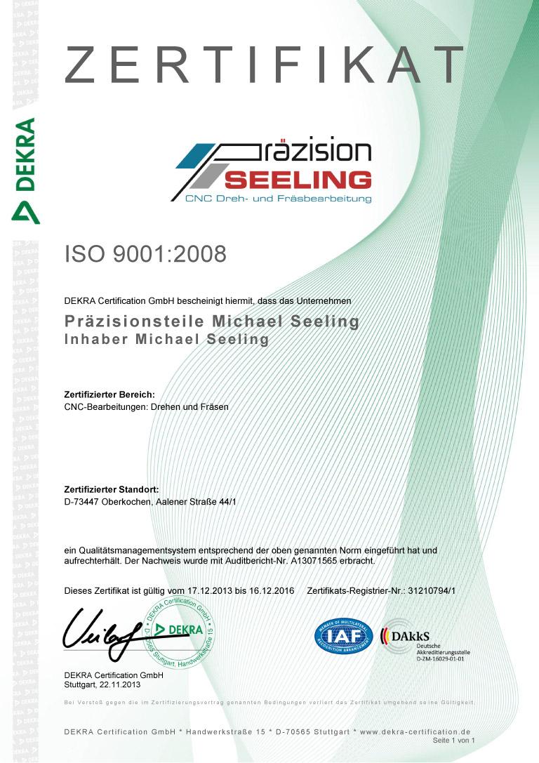 ISO 9001:2008-Zertifizierung für Seeling